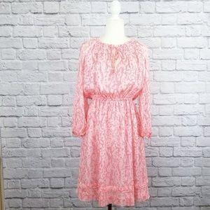 Diane Von Furstenberg pink long sleeve silk dress